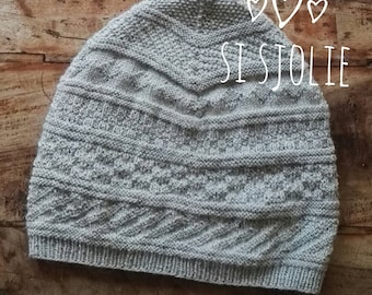 SI Sjolie wool Beanie with traditional Gansey motives