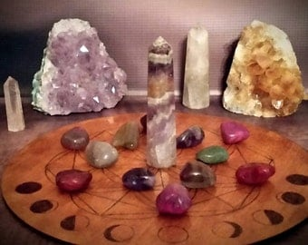 Flower of life crystal grid with moon phases - 24cm