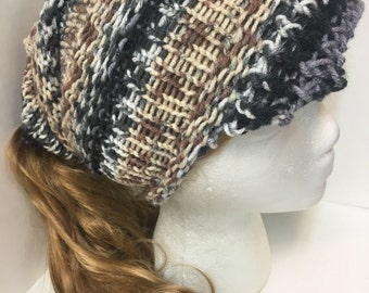 Woman's Newsboys Knit Hat with Ponytail Holder