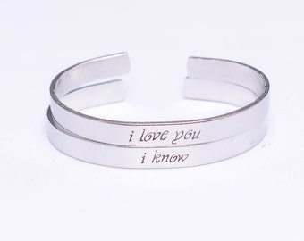 I Love You / I Know / Star Wars Gift Set / Han Solo / Princess Leia / Romantic Jewelry / Romantic Gift Set / Couples Gift / Engagement Gift