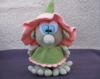 Flower GNOME. Knitted doll.