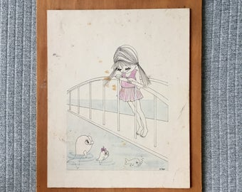 Vintage Illustration Girl and Fish Pond Signed Artist M Frey Era Unknown 70s? Drawing Board on Ply Panel 31x24cm