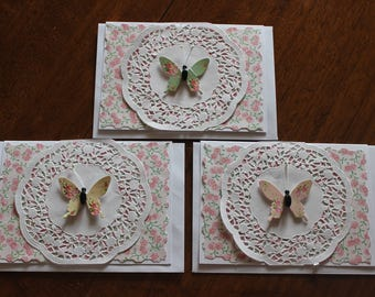Butterfly lace doily greeting handmade cards