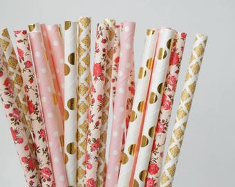 Pink Party Straws, Floral Straws, Baby Shower Decorations, Bridal Shower Decorations, Pink and Gold Party Straw Mix, 25 Piece