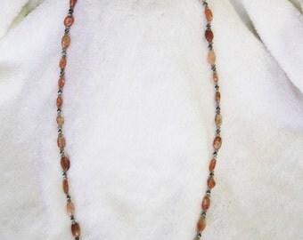 Sunstone necklace with labradorite