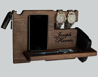 Docking Station, Personalized gift for men, iPhone Docking Station, iphone charging, Gift for Men, iphone organizer,  iPhone dock, Mod12034