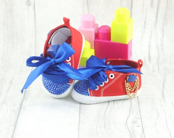 Baby Shoes Girls Soft Sole Red Royal Blue 12-18 month