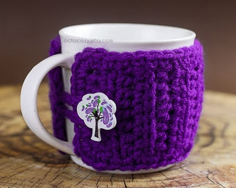 Fruit Tree Button Crochet Mug Cozy, Crochet Mug Cozy, Mug Cosy (more colours available)