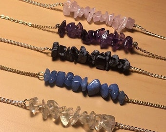 Stacked Stone Chain Necklaces