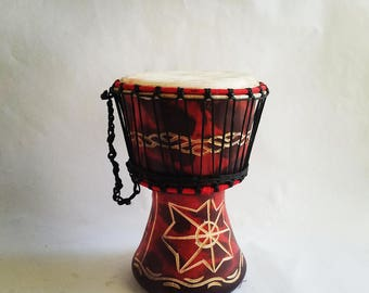 Authentic Hand Carved Handmade Red Djembe Drum