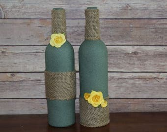 Wine Bottle Decor- Burlap and Flowers, Centerpieces, Decorative Bottles, Vases