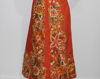 Orange Flower Skirt Hand-Embroidered Bohemian