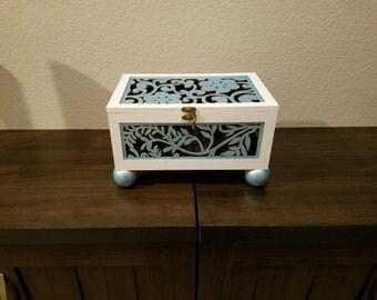 Lazer Cut Box, Hinged Painted Box, Handpainted GloveBox, Desk Top Box, Stash Box,Night Stand Box,Handpainted Box,Folkart,Vanity Box,Original
