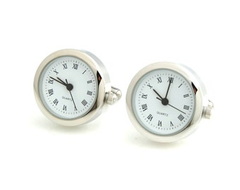 Working Silver Tone Stainless Steel Clock Watch Cufflinks