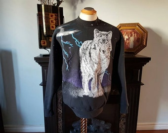 Vintage Wolf Sweater With Sweet Lightning in Backround Size L