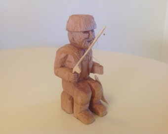 Hand carved fisherman, fisherman carving, fishing carving, wood carving, carved fisherman, men's gift, fisherman, carved man, handmade, gift
