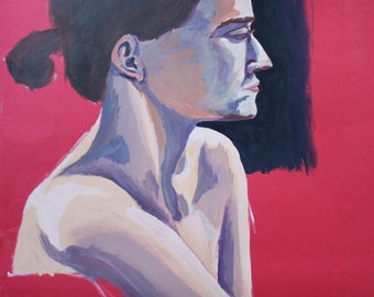 Painting of a woman, side profile, strong lighting, red, pale skin, blue tones on skin, affordable art, valentines, feminist art, original
