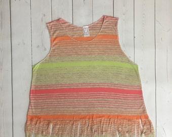 Girls fringe tank top - tank top - girls shirt - fringe shirt - tween clothing - summer clothing