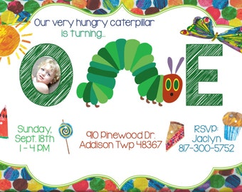 Very Hungry Caterpillar Invitation - Very Hungry CaterpillarBirthday Party Invitation - Very Hungry Caterpillar Print Yourself