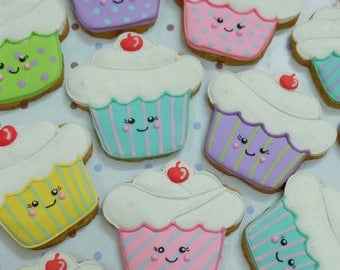18 Smily Cupcake Cookies Party Favors