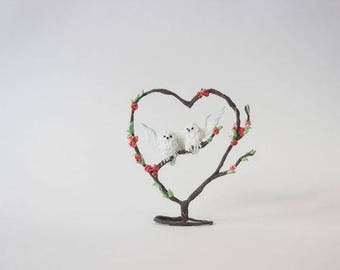 Figures white owls in a heart ,owl figurine,owl sculpture ,owl statuette