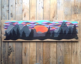 Original,one of a kind,hand painted,sunset,painting of sunset,mountains,painted mountains ,acrylic on wood, reclaimed wood, cottage decor.