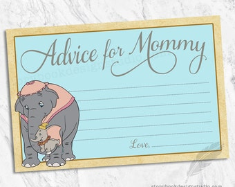 Dumbo Advice for Mommy Cards, elephants, classic, instant download, you print