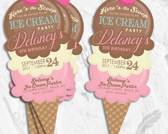 Ice Cream Birthday Party Invitation,  scoops, social, cut out shape, digital file or printed and shipped