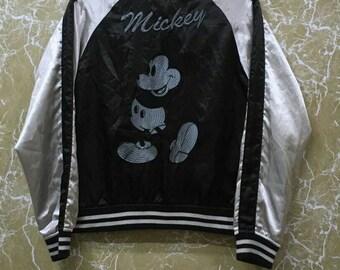 Vintage 80s Mickey Mouse Sukajan yokosuka embroidery Japanese souvenir jacket M size black colour