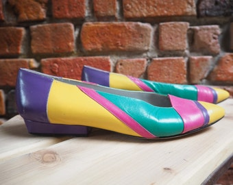 Women's 80s Purple Turquoise Pink And Yellow Multi Colored Ballet Pumps Shoes Size US 8