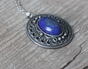Fine jewelry Lapis lazuli stone necklace Victoria style women gift for her