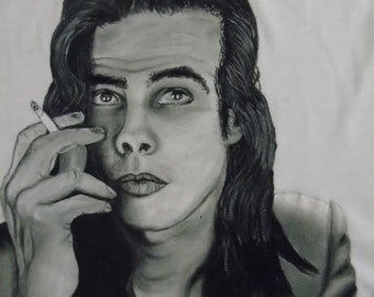 Hand-painted t-shirt Nick Cave portrait, custom quote