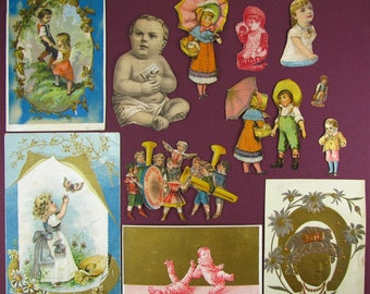 12 AUTHENTIC Victorian, trade cards, ephemera, Kids, Children, Girls, Boys, Victorian scrap, ads, paper, 1900, 1910, paper ephemera, scrap