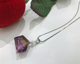 Ametrine color stone  pendant 18k gold with diamond, amethyst citrine, unique shape, modern style.