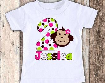 Mod Monkey Girl custom designed birthday t shirt tshirt personalized