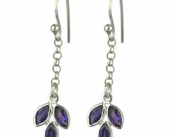 Amethyst Women Jewelry Solid 925 Sterling Silver Earrings