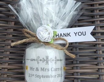 Wedding personalised candle favour. Rustic shabby chic