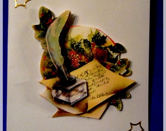 "3D ""Feather and scroll"" Christmas card"
