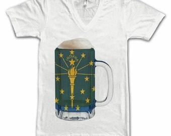 Ladies Indiana State Flag Beer Mug Tee, Home State Tee, State Pride, State Flag, Beer Tee, Beer T-Shirt, Beer Thinkers, Beer Lovers Tee