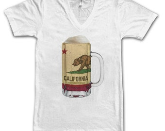 Ladies California State Flag Beer Mug Tee, Home State Tee, State Pride, State Flag, Beer Tee, Beer T-Shirt, Beer Thinkers, Beer Lovers Tee