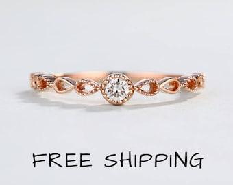 Rose gold engagement ring set Etsy