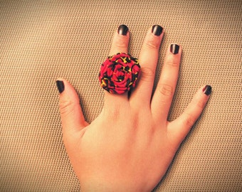 Ndakachena Limited Edition Ankara Statement Ring - Kente African Wax Print Ring - Flower Fashion Ring - African Ring Jewelry Prom Graduation