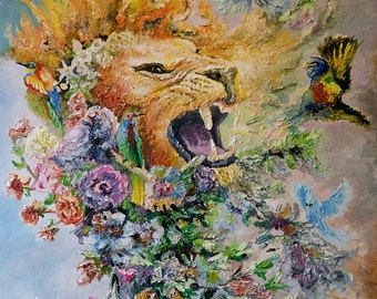 The King: Lions Roar. mjchameleon ORIGINAL PAINTING 36x36 inches