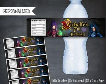 Descendants Bottle Labels, Descendants Juice Labels, Descendants Favors, Printables, Personalized Bottle Labels, Party, Wraps, Digital, DIY