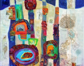 Abstract mixed media on canvas with added textiles, inspired by Hundertwasser