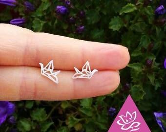Origami ears and Silver earrings 925 chiseled bird minimalist geometric sterling hypoallergenic