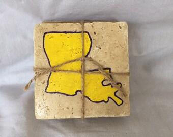 Hand Painted Yellow & Purple Louisiana Coasters