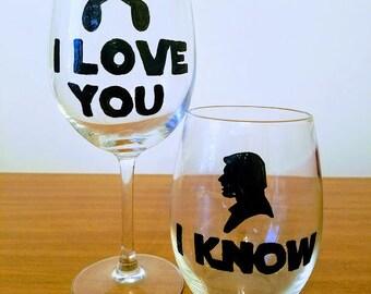 I Love You I Know Star Wars Wine Glass Set