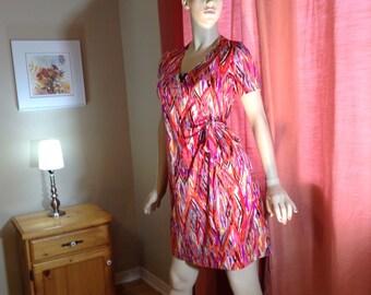 Vintage wrap dress multi color summer dress ,midi wrap dress