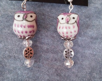 Purple Owl Earrings